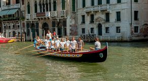 Rowing in Venice Royalty Free Stock Photo