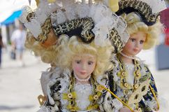 Venetian ceramic dolls in the market royalty free stock photos