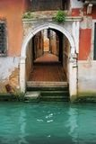 Venice: back alley to the canal in Cannareggio Stock Image