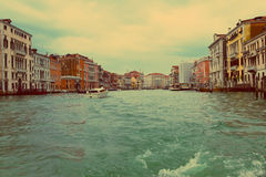 Venice. A bad weather before flooding on Canal Grande Royalty Free Stock Image