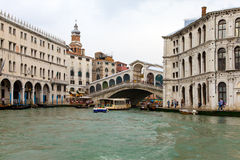 Venice. A bad weather before flooding. Rialto brig Stock Image