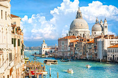 Venice, basilica of santa maria della salute. Ita. Venice, view of grand canal and basilica of santa maria della salute. Italy Stock Photos