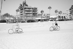 Venice Beach Bike Path. Los Angeles, United States, 30 August 2016. Women cycling on Venice Beach BIke Path stock photos