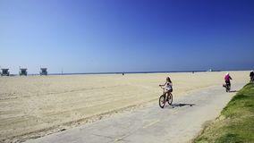 Venice Beach bike path stock video footage