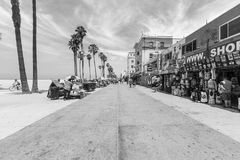 Venice Beach Boardwalk Editorial Black and White Royalty Free Stock Photography