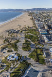 Venice Beach Boardwalk and Park in Los Angeles California. Los Angeles, California, USA - December 17, 2016:  Aerial of Venice beach boardwalk and park Stock Photography