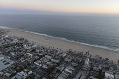 Venice Beach California After Sunset Aerial Stock Photo