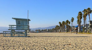 Venice Beach. Cross view of the beach and a lifeguard stand on Venice Beach in California royalty free stock images
