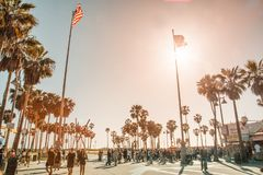 Venice Beach-Flaggen-Quadrat lizenzfreies stockbild