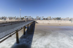 Venice Beach Pier with Motion Blur Water Stock Images