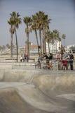 Venice Beach skatepark. VENICE, US - JANUARY 4: Skatepark of Venice Beach on January 4, 2014 in Venice, US. This skatepark, with pool, ramps, stair set and flow Stock Image