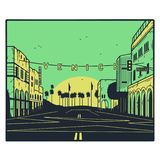 VENICE BEACH SUN GREEN YELLOW ILLUSTRATION stock illustration