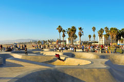 Venice Beach, United States. VENICE, US - OCTOBER 16: Skatepark of Venice Beach on October 16, 2011 in Venice, US. This skatepark, with pool, ramps, stair set Stock Photos
