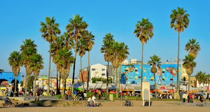 Venice Beach, United States. VENICE, US - OCTOBER 16: Ocean Front Walk of Venice Beach on October 16, 2011 in Venice, US. This boardwalk is 2.5 kilometer long royalty free stock images