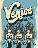 Venice beach. Vector colorful poster with handwritten lettering. And hand drawn illustration of mermaid. Template for card, placard, banner, print for t-shirt Royalty Free Stock Photo