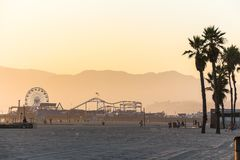 Venice beach with view on Santa Monica Pier at sunset Royalty Free Stock Photo