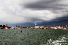 Venice with bell tower of St. Mark and St. George Stock Images