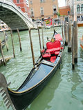 Venice black gondola. Beautiful gondola in Venice, Italy in black and red Royalty Free Stock Images