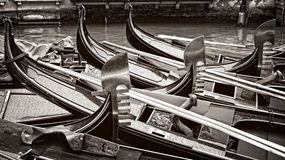 Venice, black and white gondolas Royalty Free Stock Photography