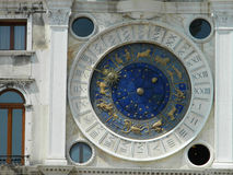 Venice blue zodiac clock. Royalty Free Stock Images