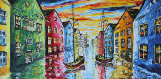 Venice boat floating in the streets, oil painting Royalty Free Stock Images