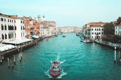 Venice. Boat on the river Stock Photos