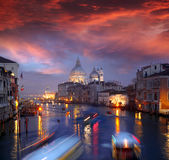 Venice with boats on Grand canal Royalty Free Stock Photo