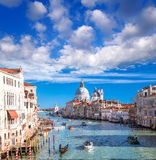 Venice with boats on Grand canal in Italy Royalty Free Stock Photography