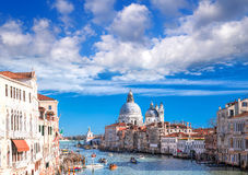 Venice with boats on Grand canal in Italy Stock Photo