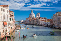 Venice with boats on Grand canal in Italy Stock Photography