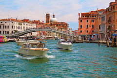Venice. Boats in Grand Canal near the Ponte degli Scalzi Stock Photography