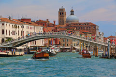 Venice. Boats in Grand Canal near the Ponte degli Scalzi Stock Images