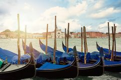 Venice, Boats before square San Marco. Un Italy.  royalty free stock photography
