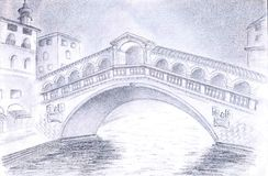 Venice Bridge. One of the most beautiful and representative bridges of Venice: Rialto Bridge. Done with pencils Royalty Free Stock Images