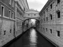 Venice bridge of sighs doges palace and canal. Venice the bridge of sighs doges palace and canal stock photo