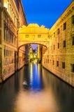 Venice, Bridge of Sighs - Ponte dei Sospiri. Venice, Italy. Bridge of Sighs & x28;italian Ponte dei Sospiri& x29; in Venezia, illuminated in the night. Italian Stock Photos