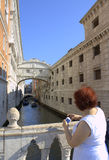 Venice bridges tourist woman Italy Stock Photo