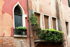 Venice building. Fragments palaces window Stock Photos