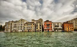 Venice buildings. Dark scene of Venice buildings and water, Italy Royalty Free Stock Photo