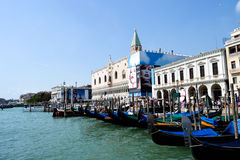 Venice buildings and gondolas Stock Image