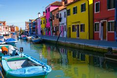 Venice, Burano island canal Royalty Free Stock Photography