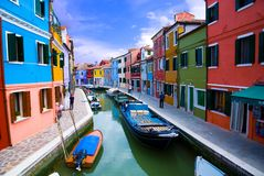 Venice, Burano island canal Stock Image