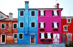Venice, Burano island, colorful houses, Venezia, Italy Royalty Free Stock Image