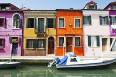 Venice, Burano island, Italy - scenic view of characteristic colorful buildings and the canal royalty free stock photography