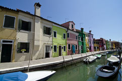 Venice - Burano. Typical colored houses of Burano island Stock Photos