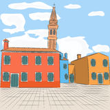 Venice. Burano. Vector. Royalty Free Stock Images