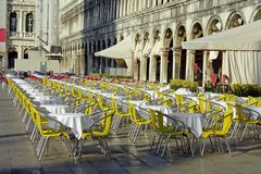 Venice, a cafe on the piazza San Marco Stock Photo