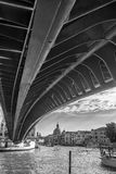 Venice, Calatrava`s Bridge. In a black and white picture from below Royalty Free Stock Images