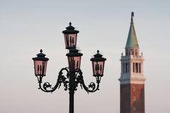 Venice Campanile Tower With Street Lamp Stock Images