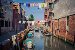 Venice canal. With gondolas and buildings Royalty Free Stock Images